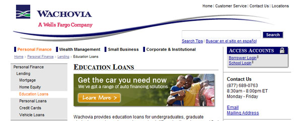 Wachovia Education Loans